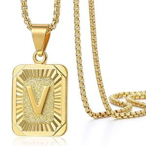 Other - Initial Letter Gold Plated Pendant Necklace
